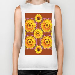 CINNAMON COLOR YELLOW SUNFLOWERS ART Biker Tank