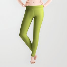 Tropical Dark Lime Green Yellow Solid Color Accent  Leggings