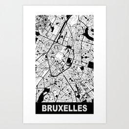 Bruxelles, Belgique, city map, White Art Print