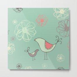 Birdies Gone Wild Revisited by Deirdre J Designs Metal Print