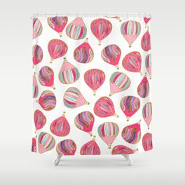 Modern pink colorful watercolor hot air balloons Shower Curtain