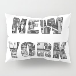 New York  B&W typography Pillow Sham