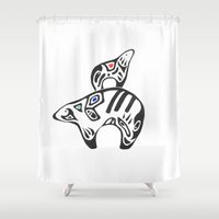 arctic monkeys Shower Curtains featuring Arctic Family by Amaya
