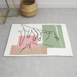 One continuous single drawn line art doodle curl loving kissing couple, kiss, love, hugs Rug
