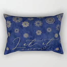 Let it snow, gold lace snowflakes in the night sky Rectangular Pillow