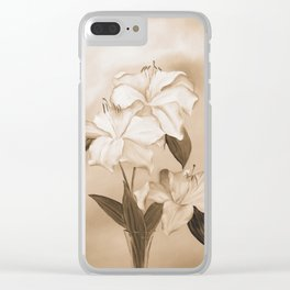 White Lilies Clear iPhone Case
