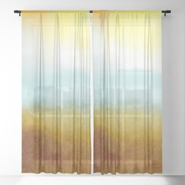 Teal, Yellow and Gold Abstract Sheer Curtain