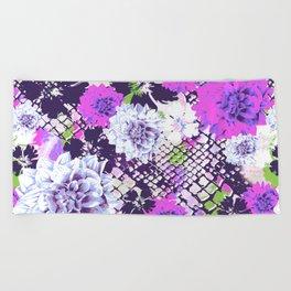 Croc Floral Goes Purple Beach Towel
