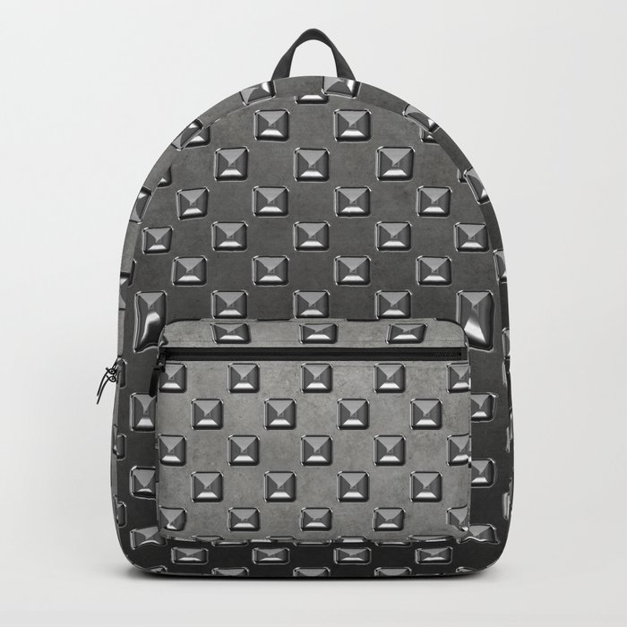 Silver Shine square embellishment on grey Backpack