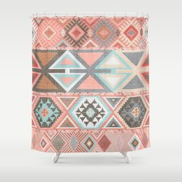 Aztec Artisan Tribal in Pink Shower Curtain