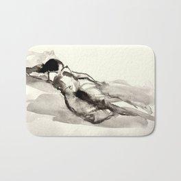 Sleeping nude, drawing Bath Mat