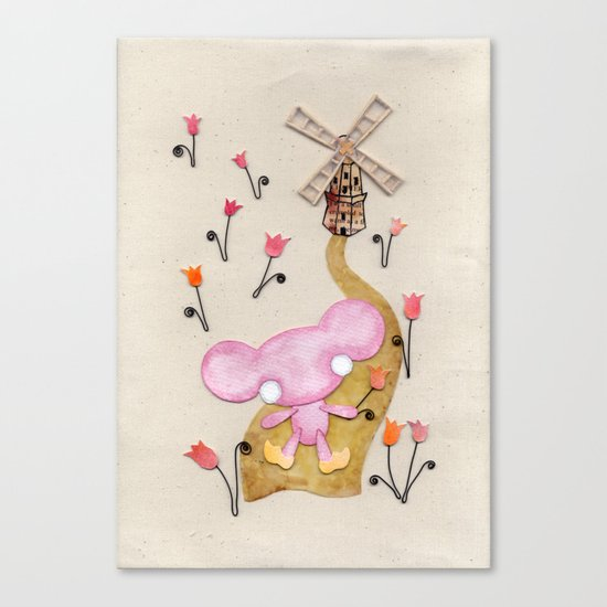 A Mouse With Clogs On, By A Windmill Canvas Print