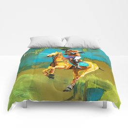 poloplayer abstract turquoise ochre Comforters