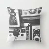 cameras Throw Pillows featuring CAMERAS by Tracey Sawatzky