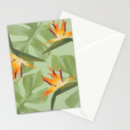 Three Paradise Flowers with Monstera Leaf Stationery Cards