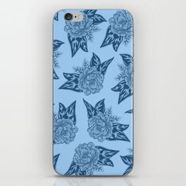Cabbage Roses in Blue iPhone Skin