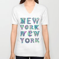 nyc V-neck T-shirts featuring NYC by Fimbis