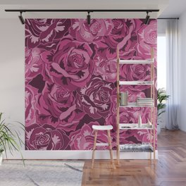 Flowers Rose Pattern Pink Roses Design Floral Decor Wall Mural