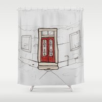 doors Shower Curtains featuring Red Doors  by Krist Norsworthy