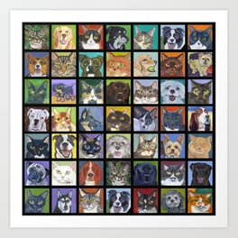 Cats and Dogs in Black Art Print