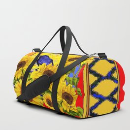 BLUE CROW & YELLOW SUNFLOWERS  RED  LATTICE ART Duffle Bag