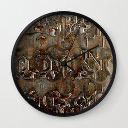Bronze Metal Wood Abstract Painting Wall Clock