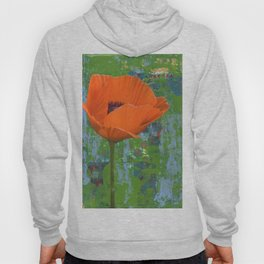 Orange Poppy on Green Hoody