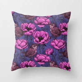 Wrens in the anemone garden  Throw Pillow
