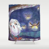 fireflies Shower Curtains featuring Fireflies by Tina Schofield