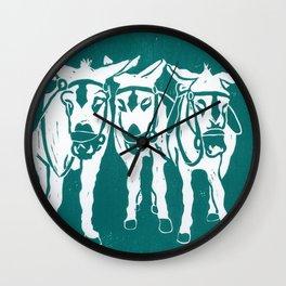 Seaside Donkeys in Turquoise Wall Clock