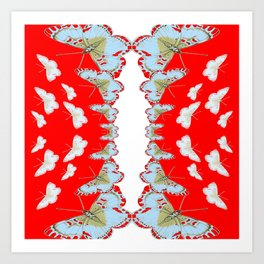 DESIGN PATTERN OF RED & WHITE BUTTERFLIES Art Print