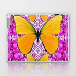 FUCHSIA COLORED  ORCHIDS &  YELLOW  BUTTERFLY FLORAL Laptop & iPad Skin