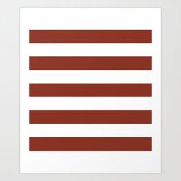 Burnt umber - solid color - white stripes pattern Art Print