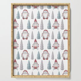 CHRISTMAS GNOMES - white Serving Tray
