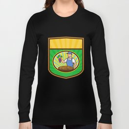 Organic Farmer Boy Grapes Raisins Crest Retro Long Sleeve T-shirt