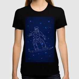 Celestial map with the constellation-Snowboarder and space stars. Extreme sport snowboarding T-shirt