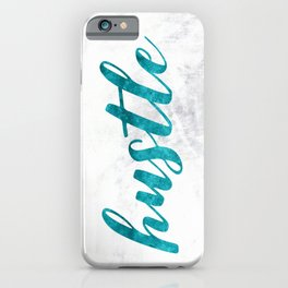 Blue Hustle Text Marble iPhone Case