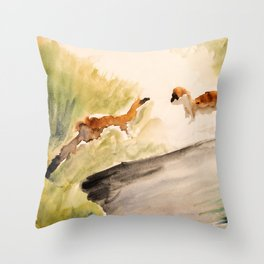 Stoat in the sunset (watercolor) Throw Pillow
