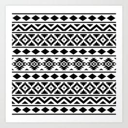 Aztec Essence Ptn III Black on White Art Print