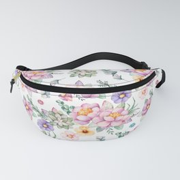 Modern elegant blush pink green lilac watercolor floral Fanny Pack