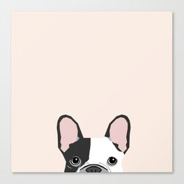 French Bulldog peeking cute black and white frenchie must have dog mom pet lover gifts Canvas Print