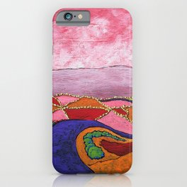 Returning to Civilization by Mike Kraus - art surreal abstract psychedelic landscape pink green iPhone Case
