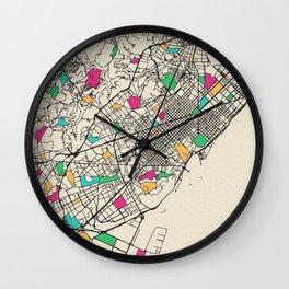 Colorful City Maps: Barcelona, Spain Wall Clock