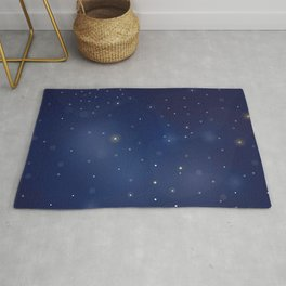Seamless Pattern with stars and bright shiny stars on dark background Rug