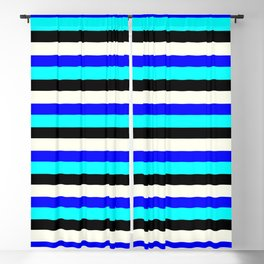 Eyecatching Ivory, Blue, Aqua, and Black Striped/Lined Pattern Blackout Curtain