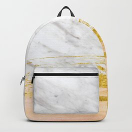 Golden painted white marble Backpack