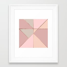 Modern rose gold peach blush pink color block Framed Art Print