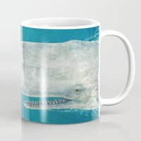art nouveau Mugs featuring The Whale  by Terry Fan
