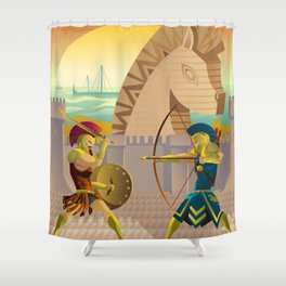 trojan war and troy horse Shower Curtain