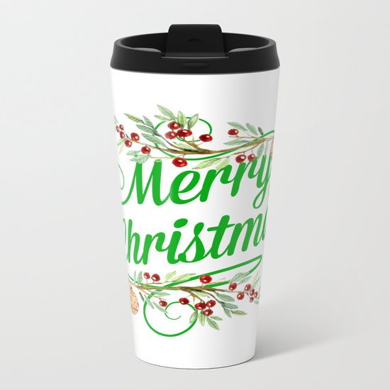Merry Christmas Metal Travel Mug